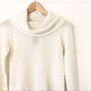 BCX White Shimmer Cowl Neck Sweater